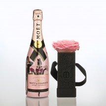Infinity Flowerbox - One BIG Rosa haltbare Rose & Moët Rosé Impérial Limited Edition