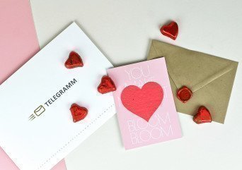 Schokoladen Telegramm mit GrowCard: You make my Heart BlOOM BlOOM! - Telegramm